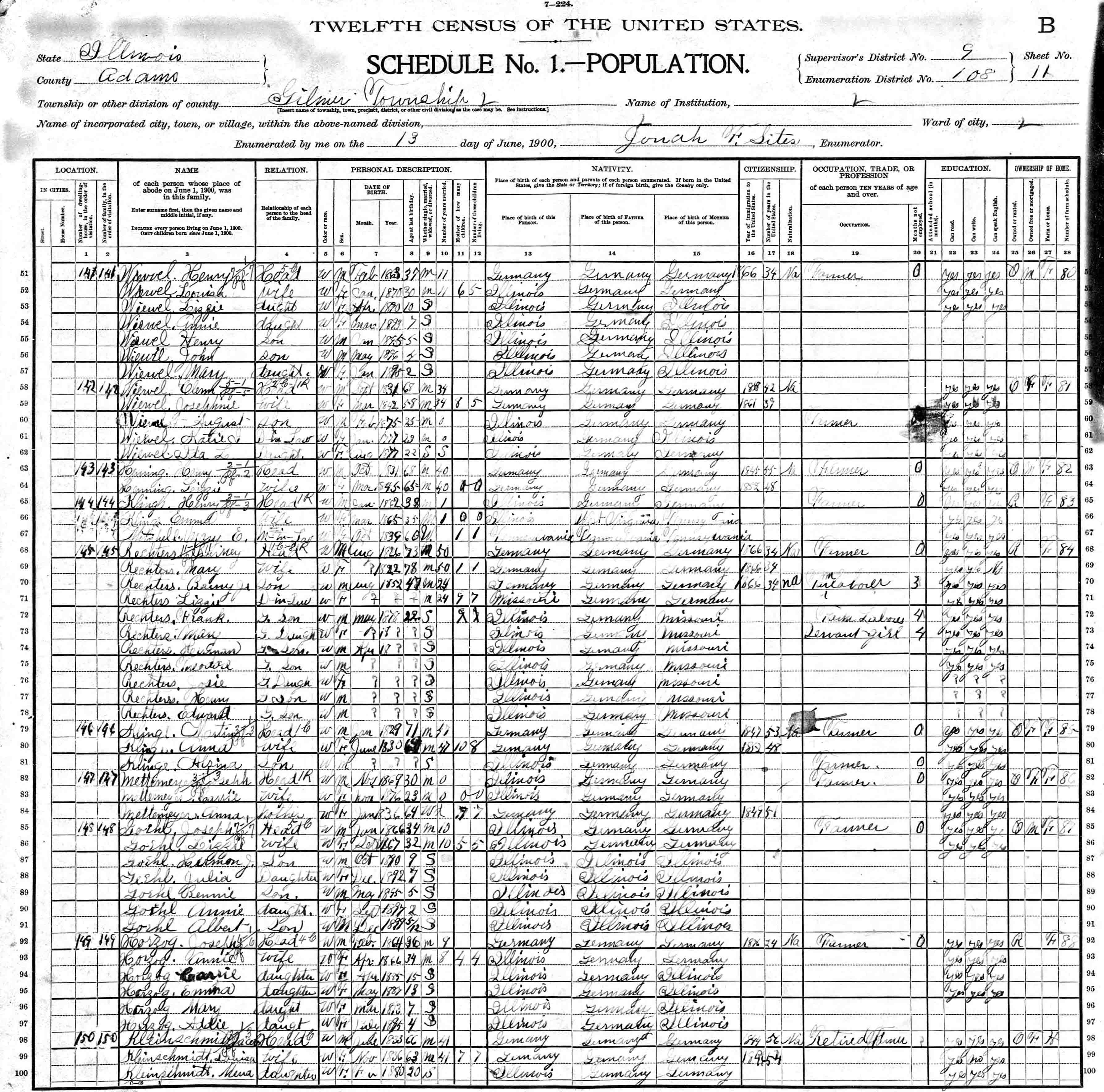 Illinois adams county fowler - 1900 U S Census Of Adams County Illinois Gilmer Township Taken On 13 Jun 1900 Roll 235 Book 1 Page 118b Lines 63 64 Dwelling 143 Family 143